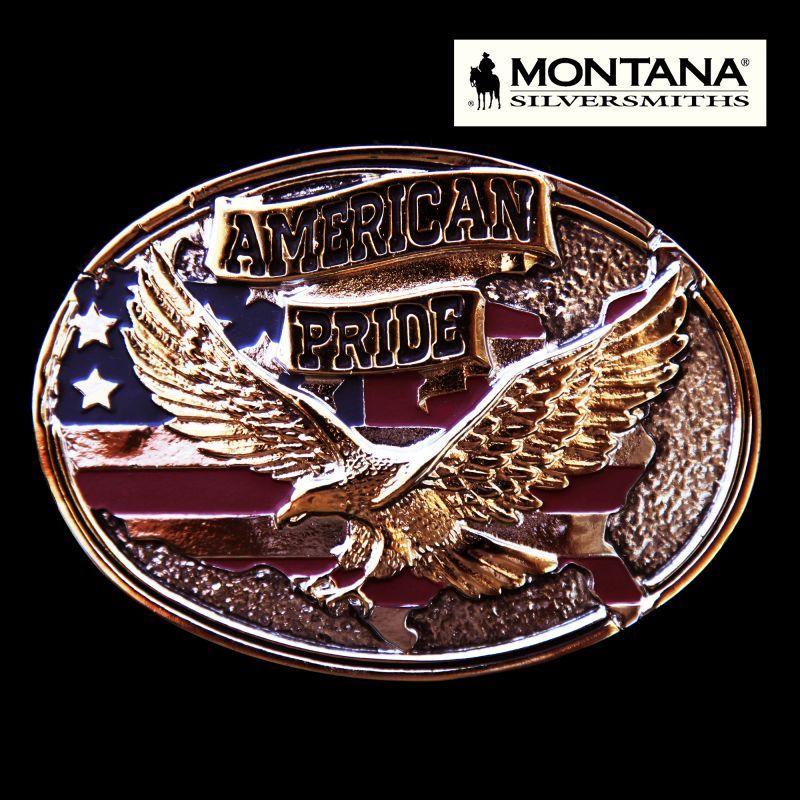 画像1: モンタナシルバースミス ベルト バックル イーグル アメリカンプライド/Montana Silversmiths Belt Buckle American Pride (1)