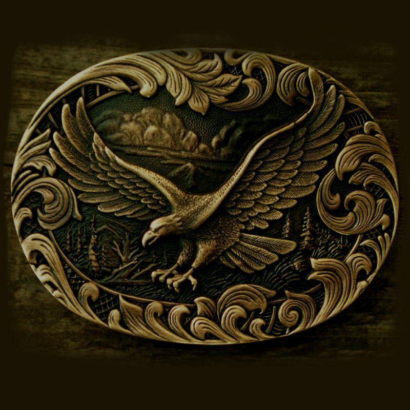 画像1: モンタナシルバースミス ベルト バックル アメリカンイーグル オーバル/Montana Silversmiths Belt Buckle (1)
