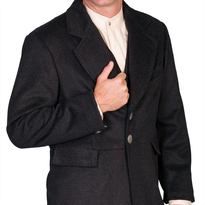 画像3: ワーメーカー フロック コート(ヘザーブラック)34/Wah Maker Wool Blend Frock Coat(Heather Black)