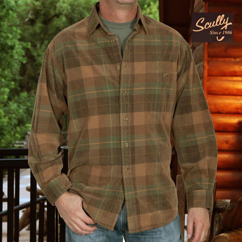 画像1: スカリー 長袖 コーデュロイ シャツ ブラウン・グリーンS/Scully Long Sleeve Corduroy Plaid Shirt