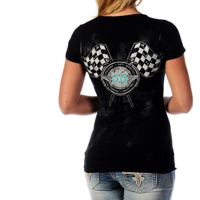 画像2: リバティーウエア ルート66 Ride ラインストーン&スタッズ 半袖Tシャツ(ブラック)/Liberty Wear Short Sleeve T-shirt(Women's)