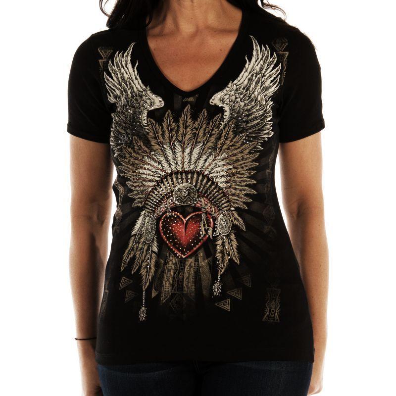 画像1: リバティーウエア ラインストーン ハート・ヘッドドレス 半袖Tシャツ(ブラック)/Liberty Wear Short Sleeve T-shirt(Women's)