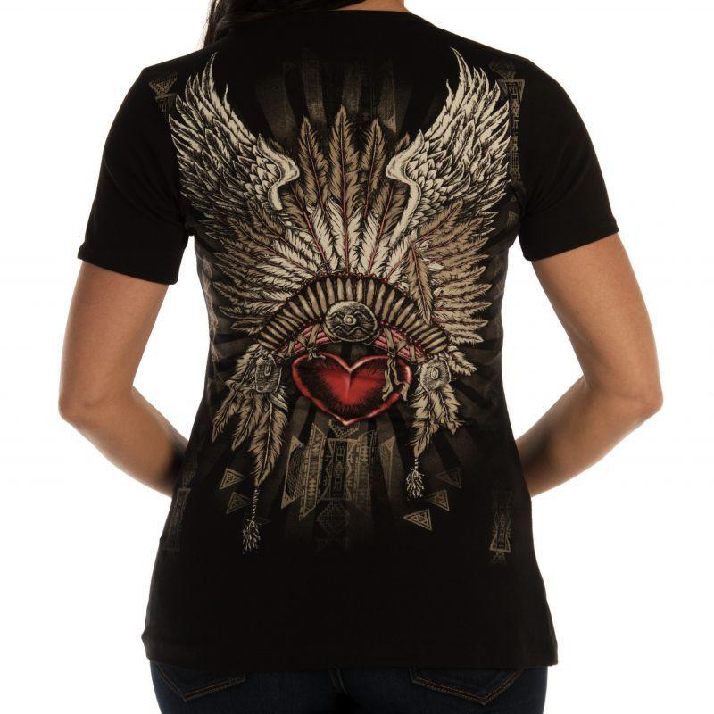 画像2: リバティーウエア ラインストーン ハート・ヘッドドレス 半袖Tシャツ(ブラック)/Liberty Wear Short Sleeve T-shirt(Women's)