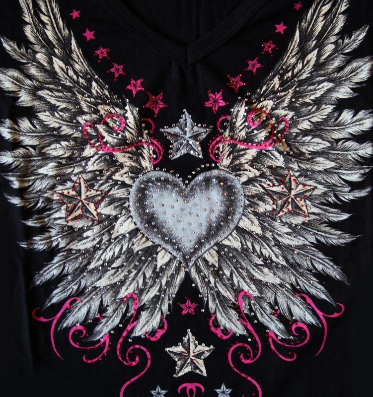 画像2: リバティーウエア ラインストーン ハート・ビンテージウイング&スター 半袖Tシャツ(ブラック)/Liberty Wear Short Sleeve T-shirt(Women's)