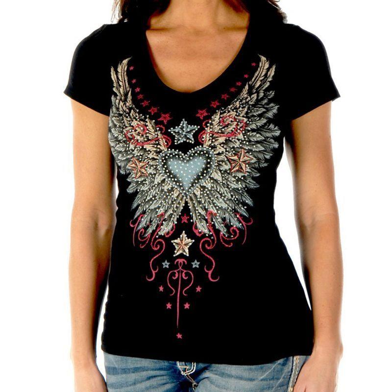 画像1: リバティーウエア ラインストーン ハート・ビンテージウイング&スター 半袖Tシャツ(ブラック)/Liberty Wear Short Sleeve T-shirt(Women's) (1)