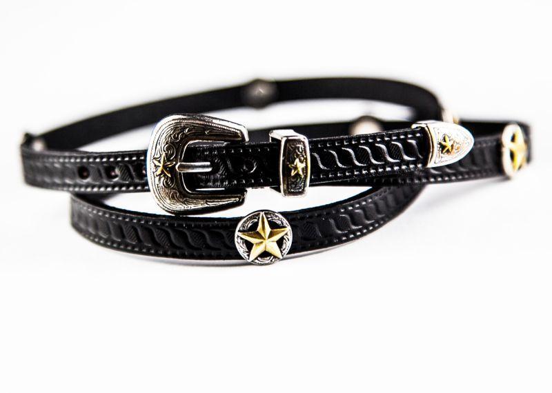 画像4: ゴールドスター レザー ハット バンド(ブラック)/Leather Hat Band(Black/Silver/Gold Star Concho)