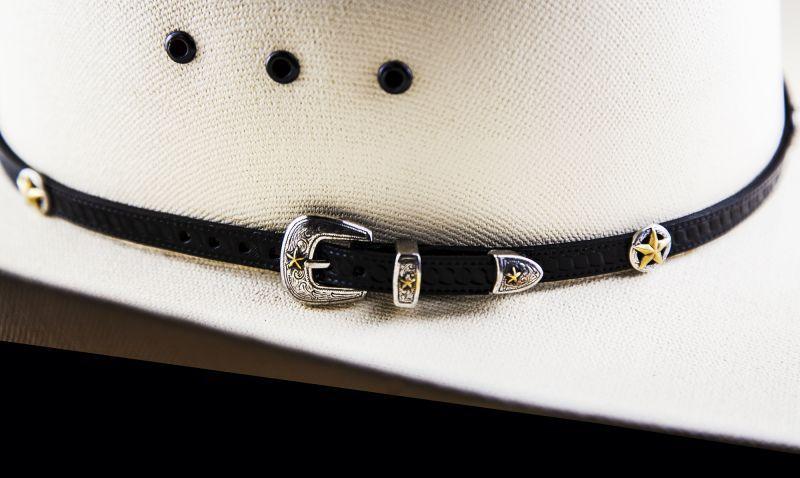 画像3: ゴールドスター レザー ハット バンド(ブラック)/Leather Hat Band(Black/Silver/Gold Star Concho)