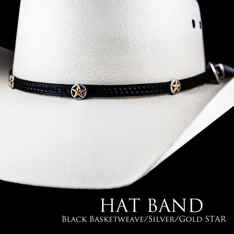 画像2: ゴールドスター レザー ハット バンド(ブラック)/Leather Hat Band(Black/Silver/Gold Star Concho)