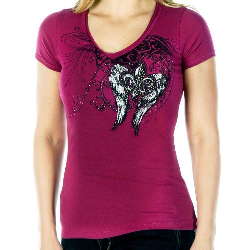 画像1: リバティーウエア ウイング ラインストーン 半袖Tシャツ(マジェンタ)/Liberty Wear Short Sleeve T-shirt(Women's)