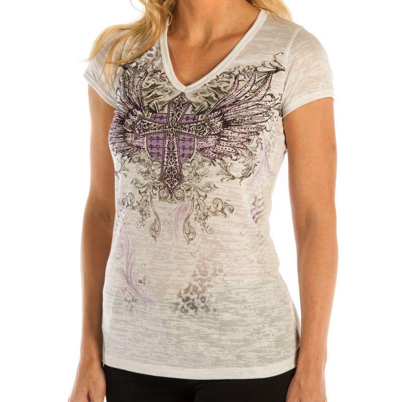 画像1: リバティーウエア パープルラインストーン 半袖Tシャツ(ホワイト)/Liberty Wear Short Sleeve T-shirt(Women's)