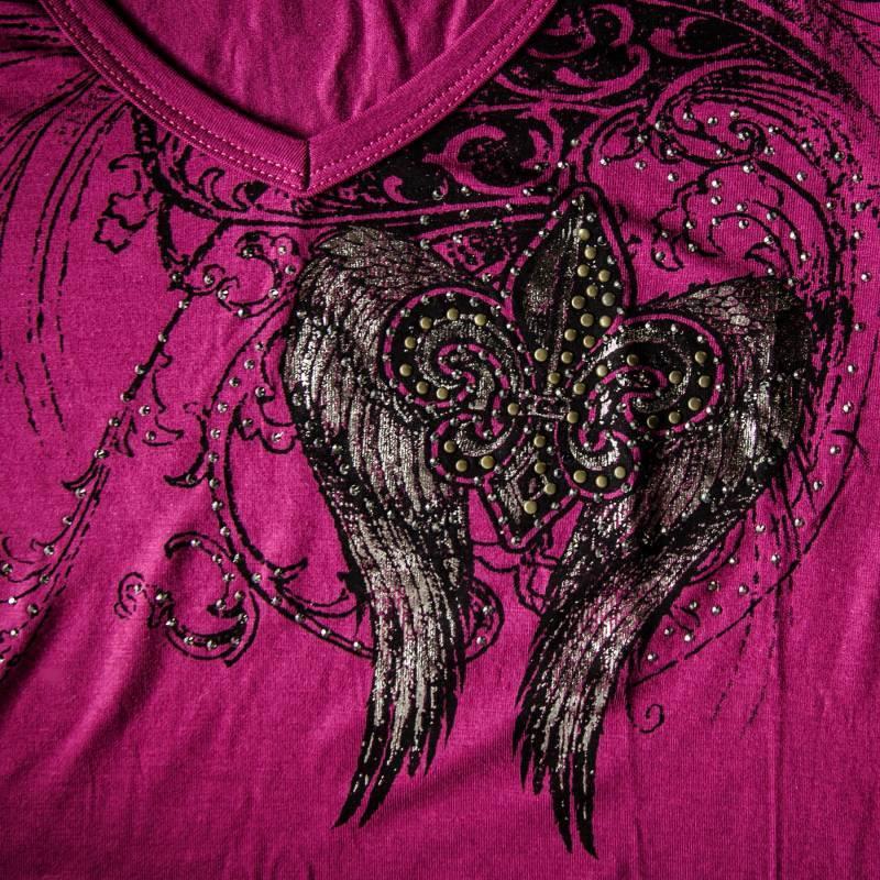 画像3: リバティーウエア ウイング ラインストーン 半袖Tシャツ(マジェンタ)/Liberty Wear Short Sleeve T-shirt(Women's)