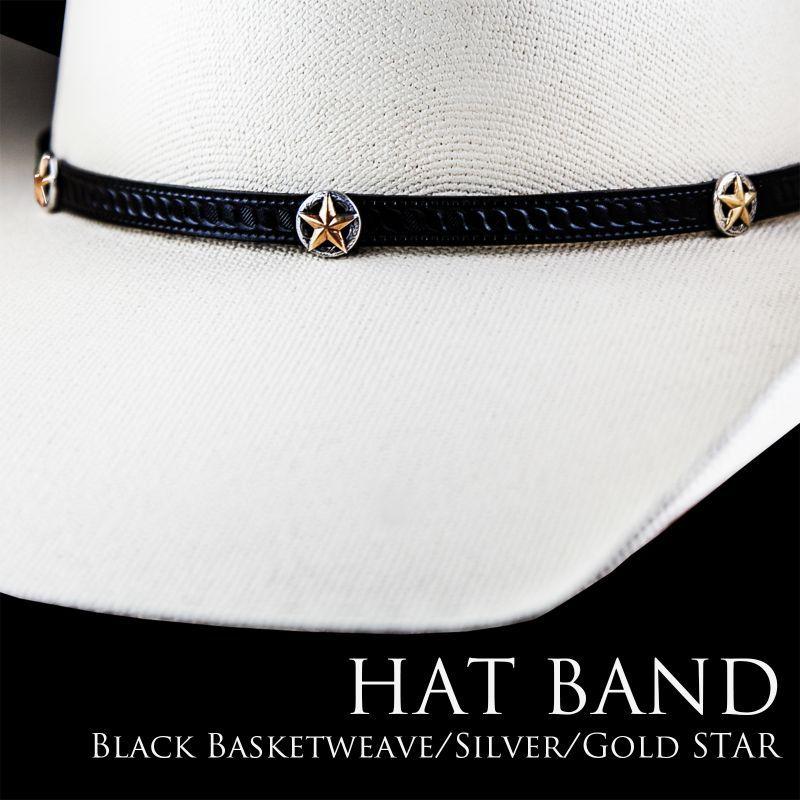 画像1: ゴールドスター レザー ハット バンド(ブラック)/Leather Hat Band(Black/Silver/Gold Star Concho)