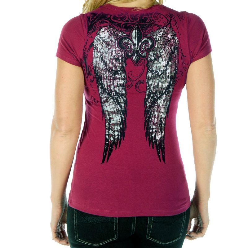 画像2: リバティーウエア ウイング ラインストーン 半袖Tシャツ(マジェンタ)/Liberty Wear Short Sleeve T-shirt(Women's)