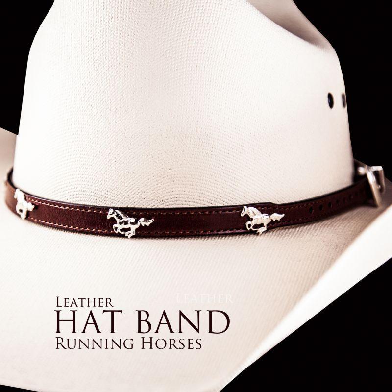 画像1: ハット バンド ランニング ホース(ブラウン)/Hat Band Leather w/Running Horses(Brown)