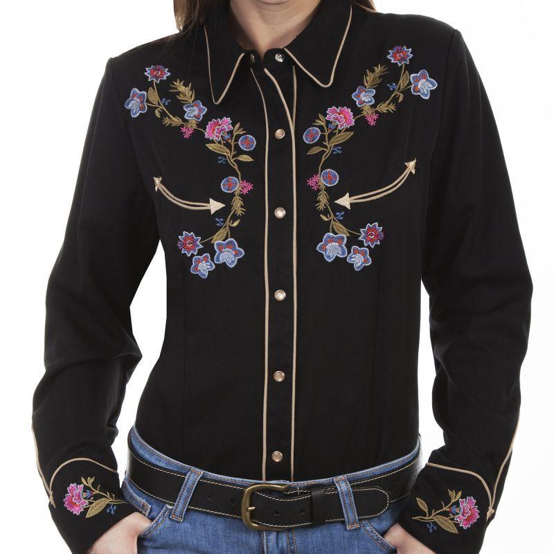 画像1: スカリー フローラル 刺繍 ウエスタン シャツ(長袖/ブラック)M/Scully Long Sleeve Western Shirt(Women's)