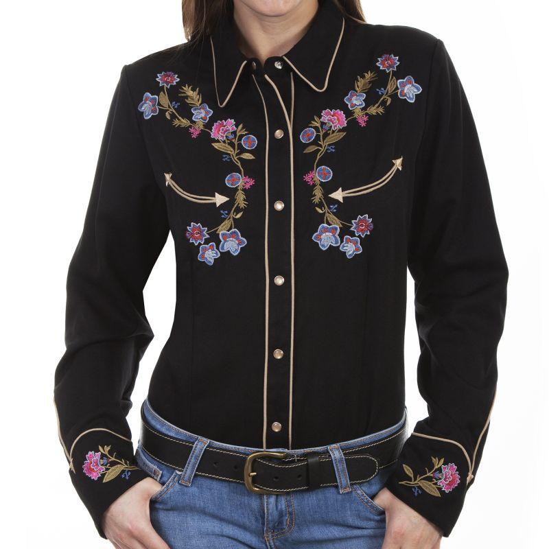 画像2: スカリー フローラル 刺繍 ウエスタン シャツ(長袖/ブラック)M/Scully Long Sleeve Western Shirt(Women's)