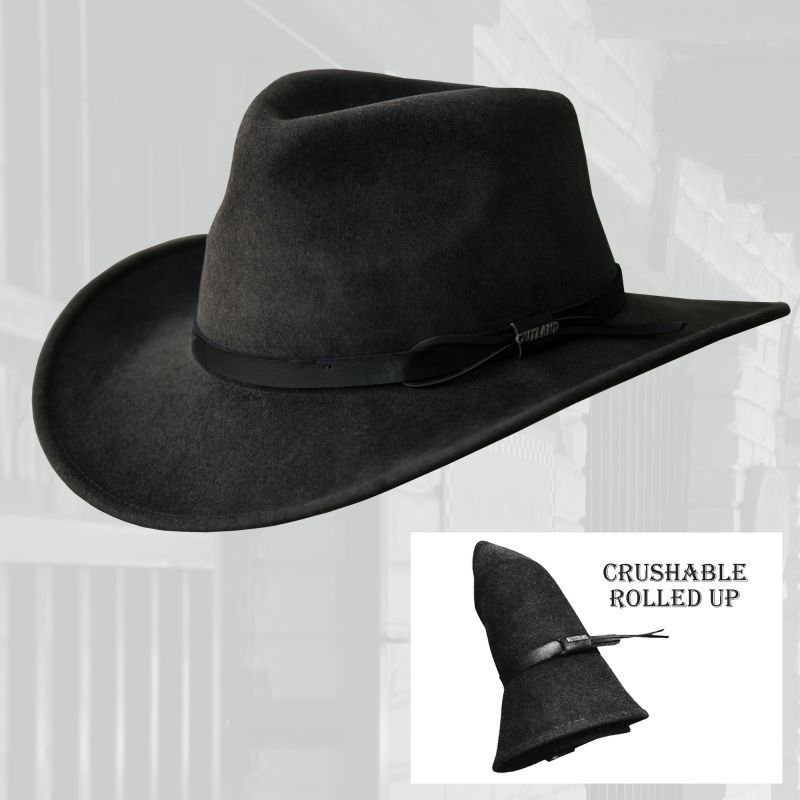 画像1: ブルハイド クラッシャブル ロールアップ プレミアムウール アウトドアハット(グレー)/Bullhide Outland Crashable Rolled Up Premium Wool Hat(Gray)