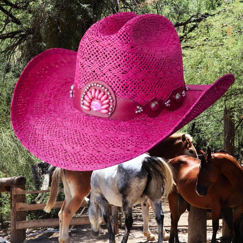 画像1: ブルハイド ウエスタン ストローハット イッチィグーニー(フクシャピンク)/Bullhide Western Straw Hat Itchygoonie(Fuchsia)