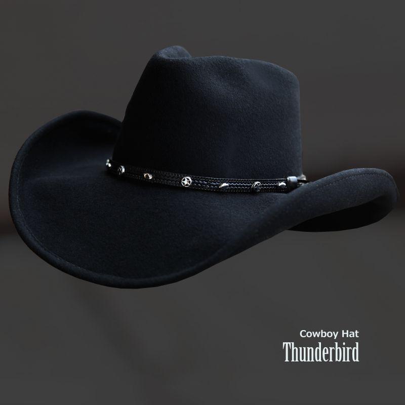 画像1: ブルハイド プレミアムウール カウボーイ ハット サンダーバード(スター・ブラック)/Bullhide Premium Wool Cowboy Hat Thunderbird(Black) (1)