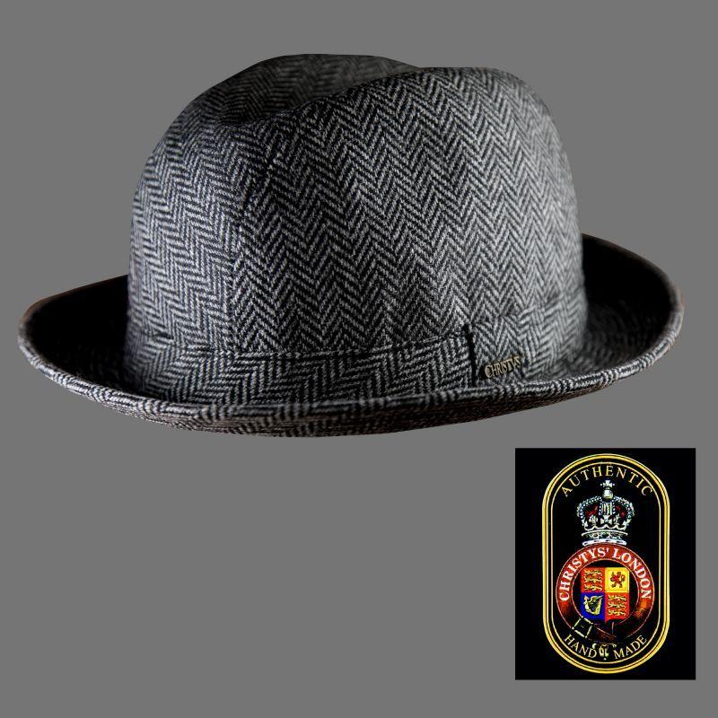画像1: クリスティーズロンドン ヘリンボーン ウール ハット(チャコール)/Christys' London Wool Hat(Charcoal) (1)