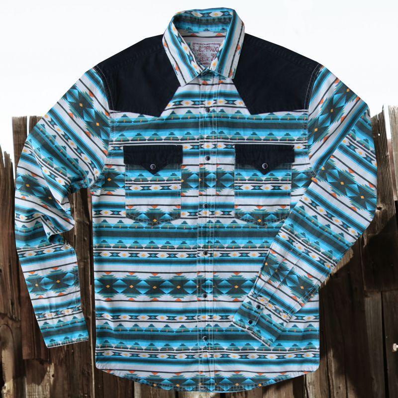 画像1: スナップフロント ウエスタンシャツ(ターコイズ・ブラック)/Long Sleeve Western Shirt(Turquoise/Black) (1)