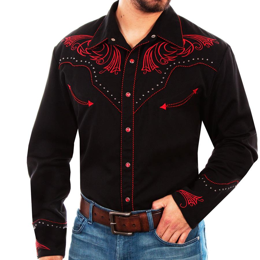 画像1: スカリー レッドスクロール刺繍・メタルスタッズ・キャンディケイン ウエスタン シャツ(長袖/ブラック・レッド)/Scully Long Sleeve Embroidered Western Shirt(Men's) (1)