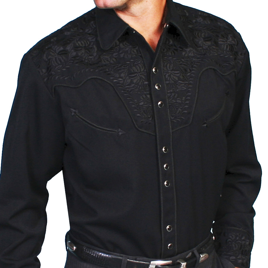画像1: スカリー ブラック&ブラック刺繍 ウエスタン シャツ(長袖/ブラック)/Scully Long Sleeve Embroidered Western Shirt(Men's) (1)