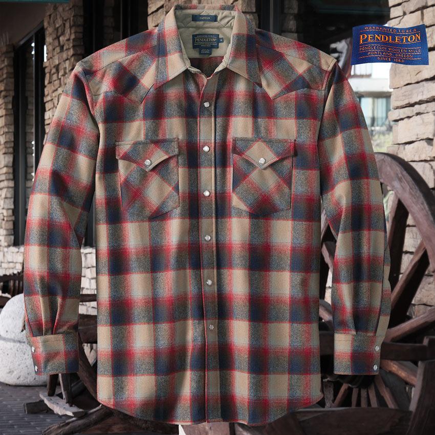 画像1: ペンドルトン ウエスタンシャツ(ネイビー・レッド・タンオンブレ)S/Pendleton Western Shirt (1)