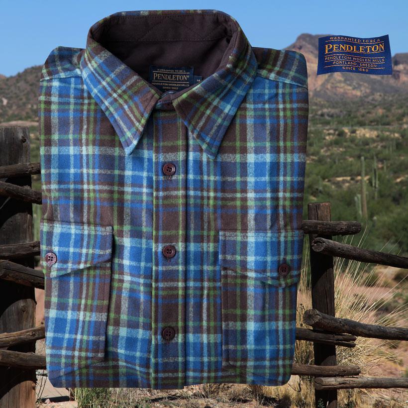 画像1: ペンドルトン ウール シャツ・ガイドシャツ(ブルー・ブラウン・グリーンプラッド)M/Pendleton Guide Shirt (Blue Brown Green Plaid) (1)