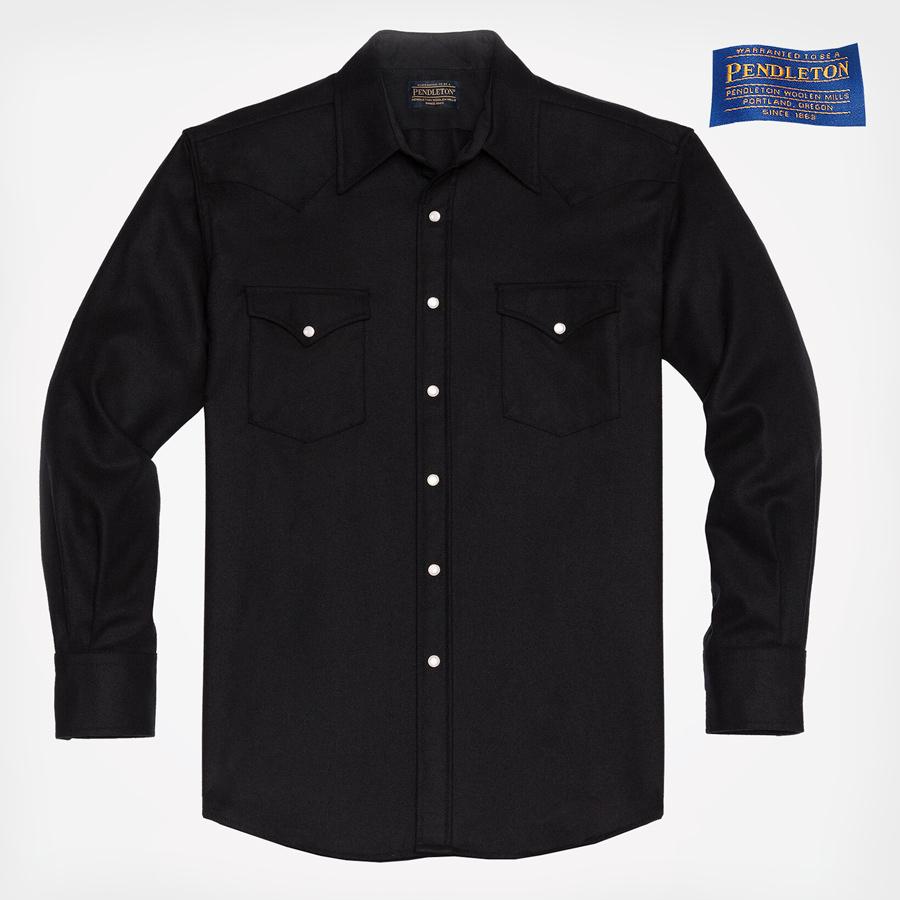 画像1: ペンドルトン フィッテッド ウエスタンシャツ(ブラック無地)XS/Pendleton Western Shirt(Men's) (1)