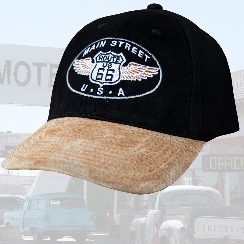 画像1: ルート66 メインストリート 刺繍 キャップ(ブラック)/Route 66 Cap(Black) (1)