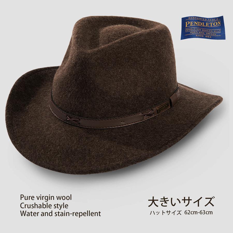 画像1: ペンドルトン ピュアーバージンウール クラッシャブル インディ ハット・大きいサイズ 62cm-63cm(ブラウン)/Pendleton Indy Hat(Brown) (1)