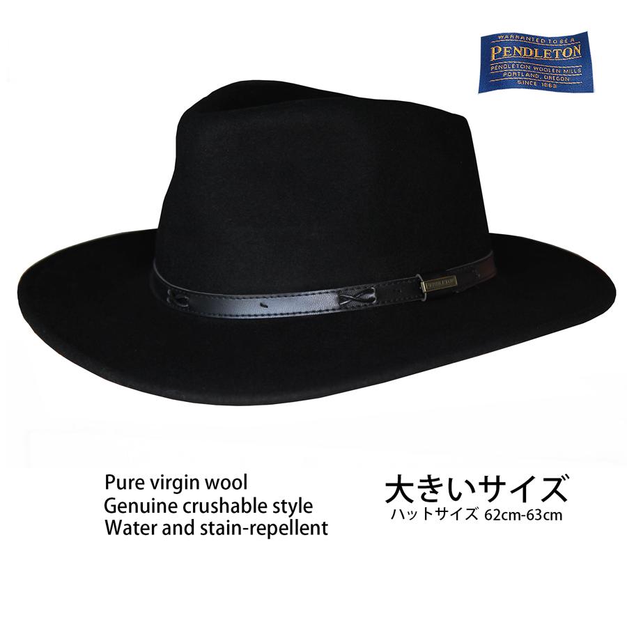画像1: ペンドルトン クラッシャブル ピュアーバージンウール インディ ハット・大きいサイズ 62cm-63cm(ブラック)/Pendleton Indy Hat(Black) (1)