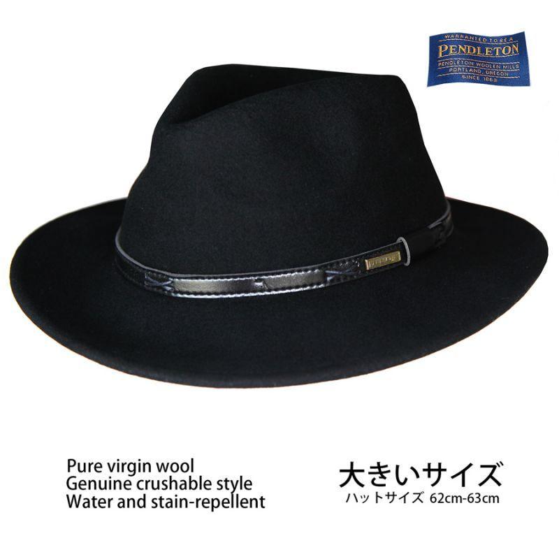 画像1: ペンドルトン ピュアーバージンウール クラッシャブル インディ ハット・大きいサイズ 62cm-63cm(ブラック)/Pendleton Indy Hat(Black) (1)