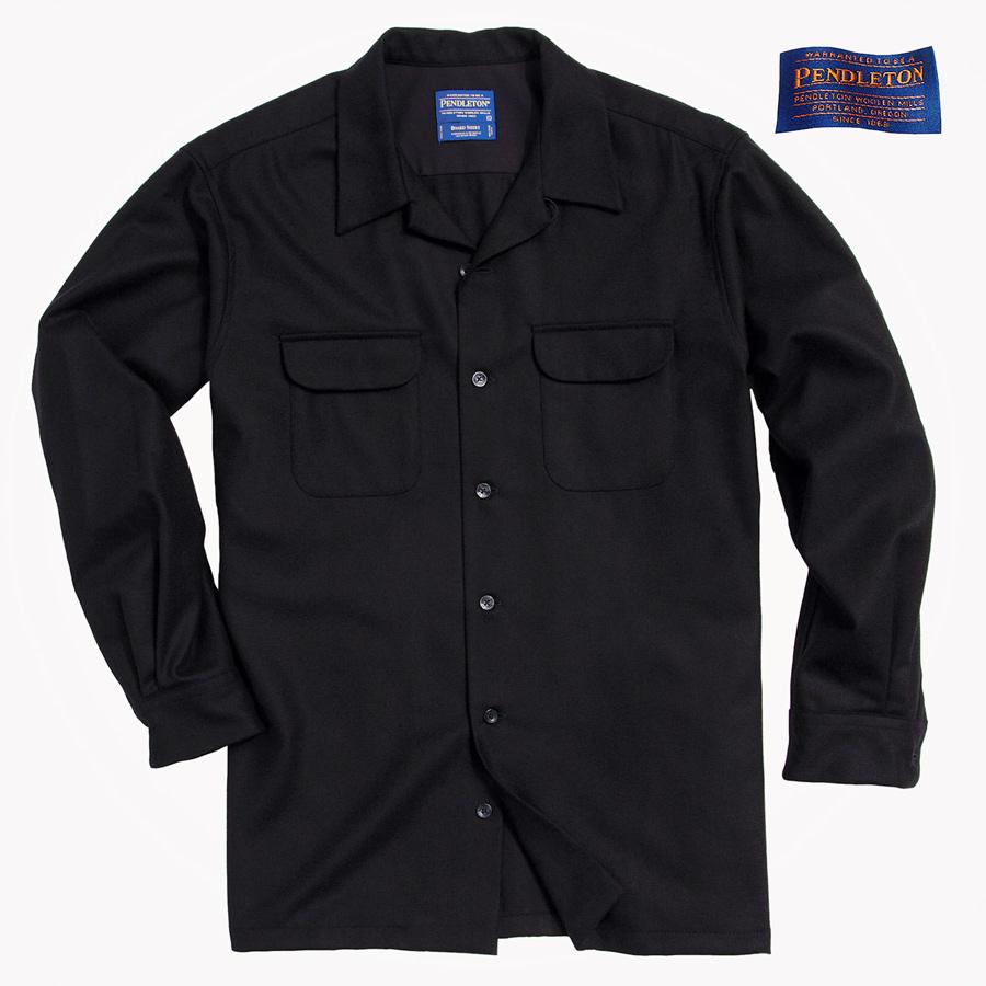 画像1: ペンドルトン ウールシャツ ボードシャツ ブラック無地/Pendleton Board Shirt(Black) (1)