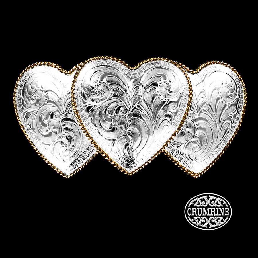画像1: クラムライン トリプル ハート ベルト バックル(シルバー・ゴールド)/Crumrine Triple Heart Belt Buckle(Silver/Gold) (1)