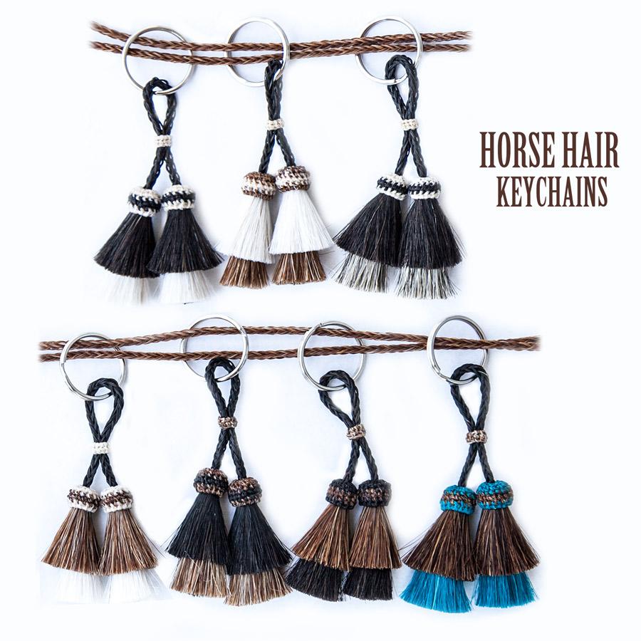 画像1: ホースヘアー(馬の毛) ウエスタン キーチェーン ダブルタッセル/Horse Hair Key Chains Double Tassel (1)