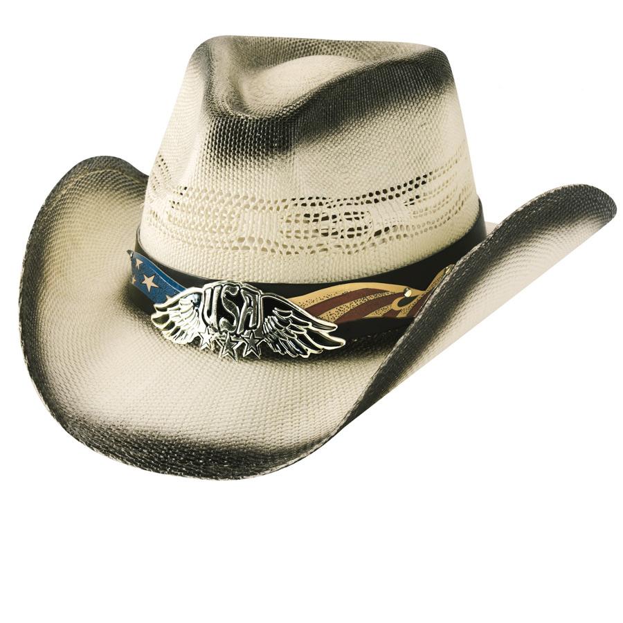 画像1: ブルハイド ウエスタン ストローハット チームUS.A(ナチュラル)/Bullhide Western Straw Hat TEAM USA (Natural) (1)