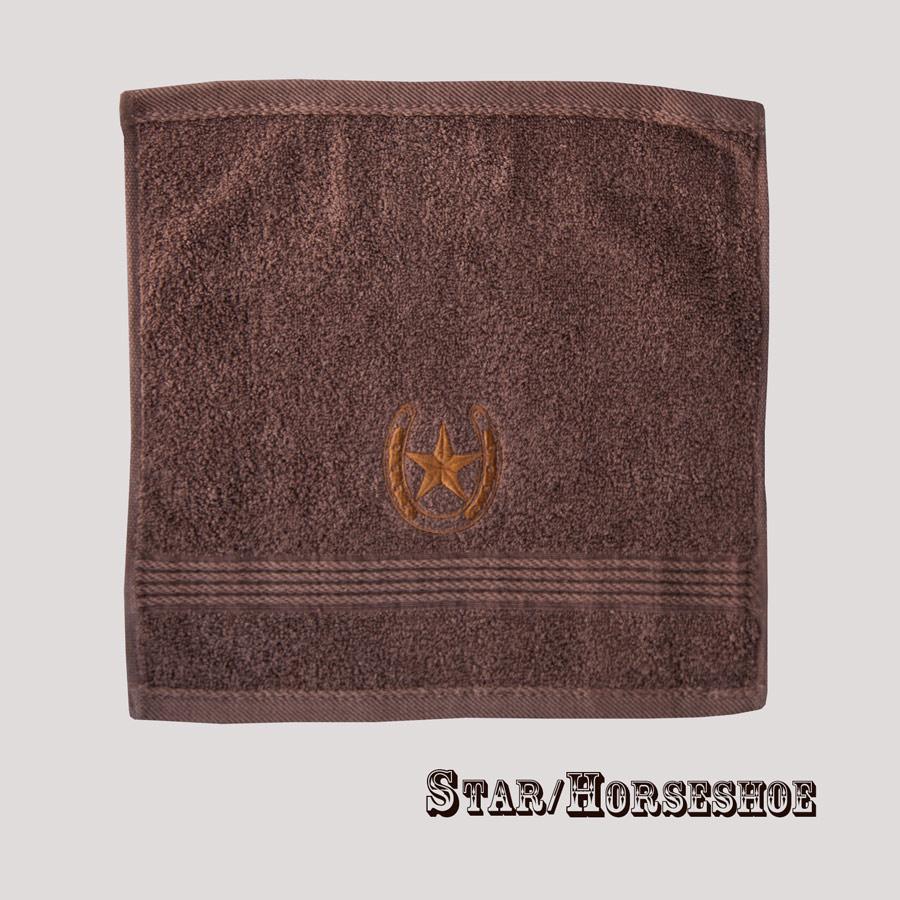 画像1: ウエスタン 刺繍 ウォッシュタオル・ハンドタオル スター&ホースシュー(ブラウン)/Western Star&Horseshoe Wash Cloth(Chocolate) (1)