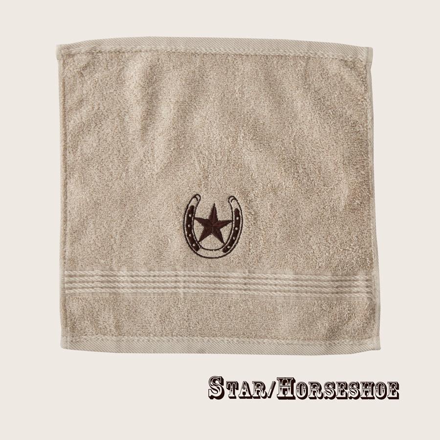画像1: ウエスタン 刺繍 ウォッシュタオル・ハンドタオル スター&ホースシュー(カーキ)/Western Star&Horseshoe Wash Cloth(Khaki) (1)