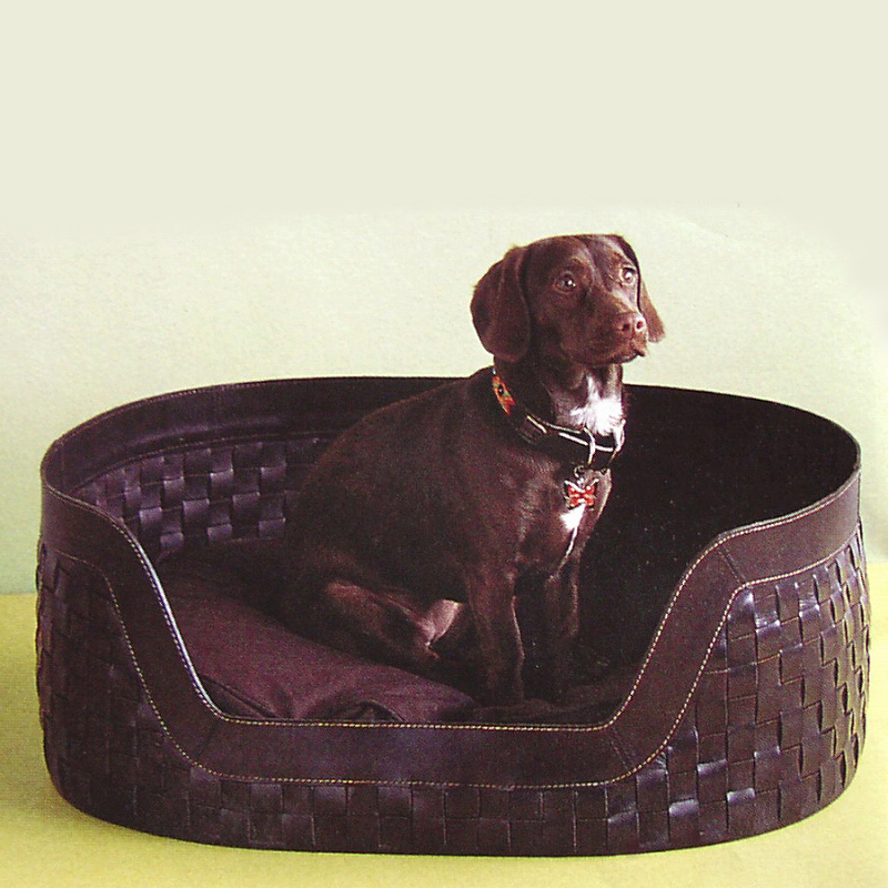 画像1: 手編み レザー ドッグベッド(牛革製愛犬用インテリアベッド)Lサイズ/Leather Dog Bed (1)