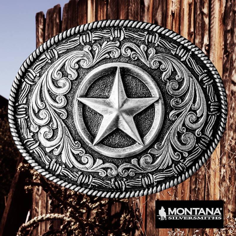 画像1: モンタナシルバースミス アンティークシルバー テキサススター ベルト バックル/Montana Silversmiths Texas Star Large Oval Belt Buckle (1)