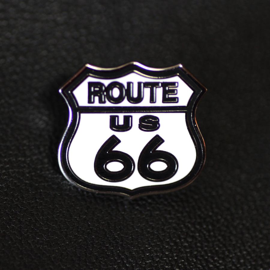 画像1: ルート66  ピンバッジ ホワイト・ブラック/Pin Route 66 (1)