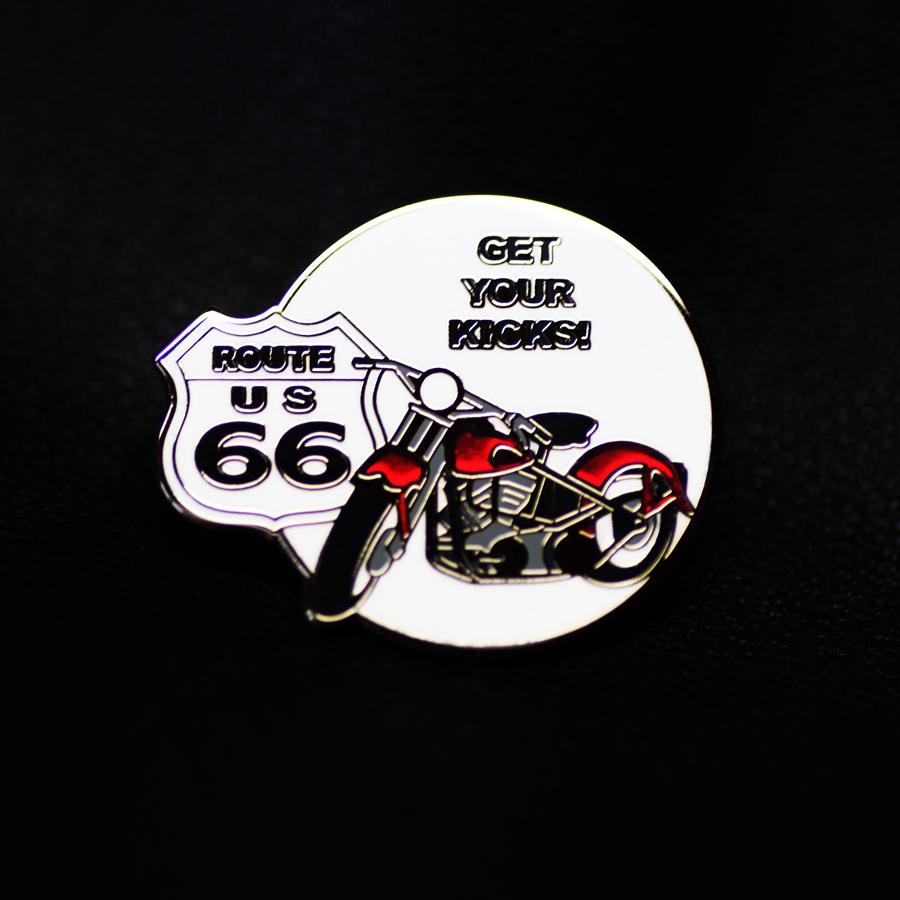 画像1: ルート66  ピンバッジ モーターサイクル・レッド GET YOUR KICKS!/Pin Route 66 (1)