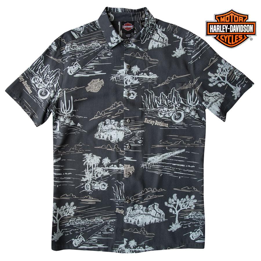 画像1: ハーレーダビッドソン トリリチャード アロハシャツ(グレー)/Harley Davidson Tori Richard Aloha Shirt(Grey) (1)