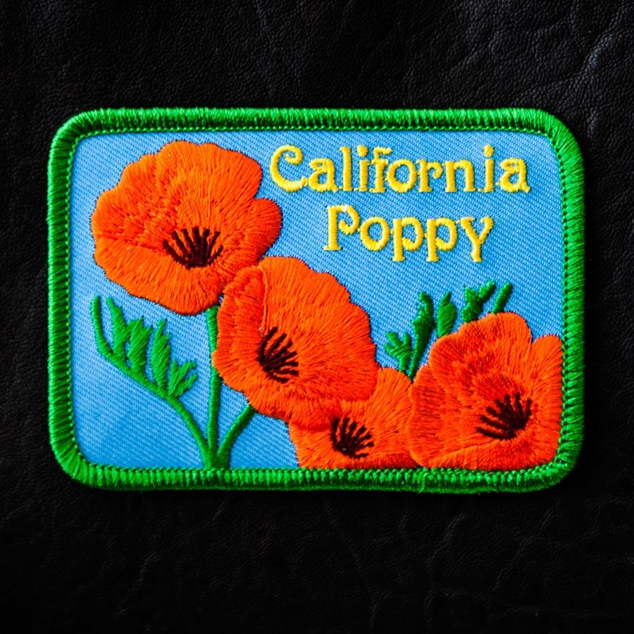 画像1: 花・フラワー 刺繍 ワッペン カリフォルニア ポピー/Patch California (1)