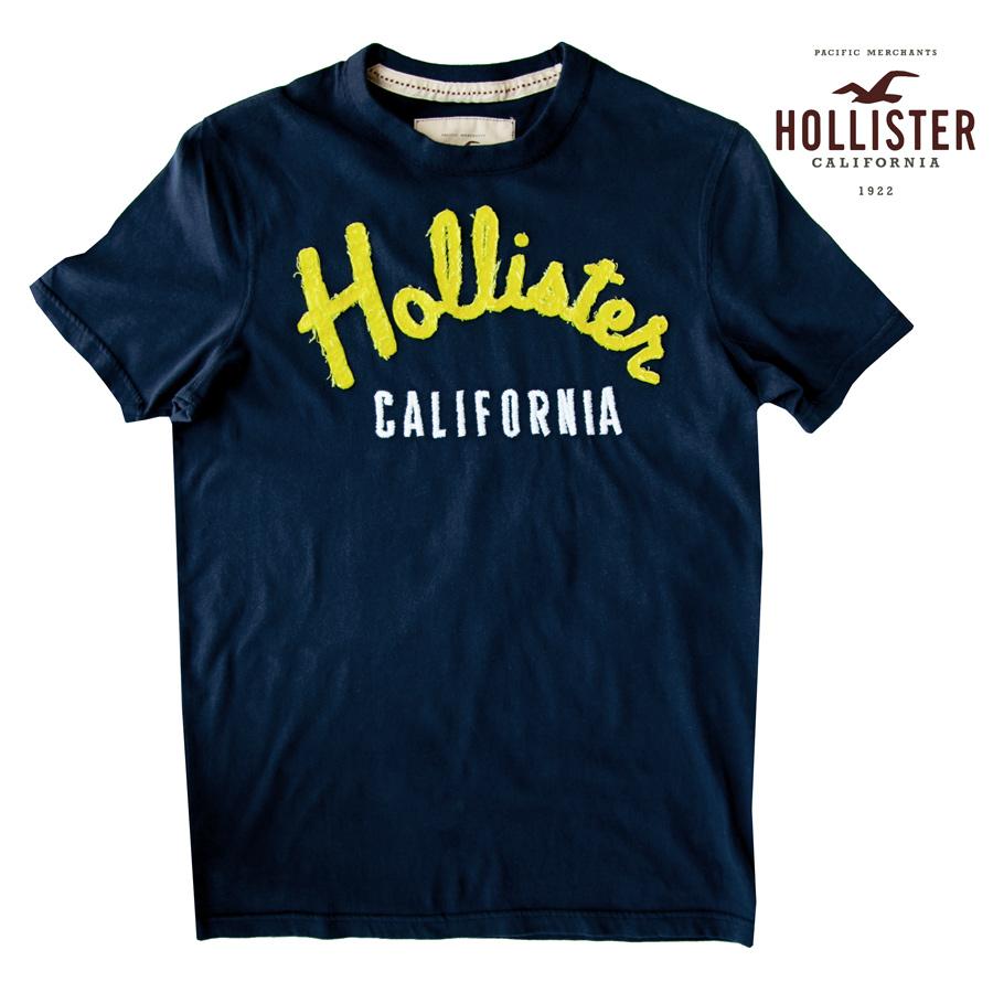 画像1: ホリスター イエローアップリケロゴ&カリフォルニア刺繍 半袖 Tシャツ ネイビーM/Hollister Short Sleeve T-Shirt (Navy) (1)