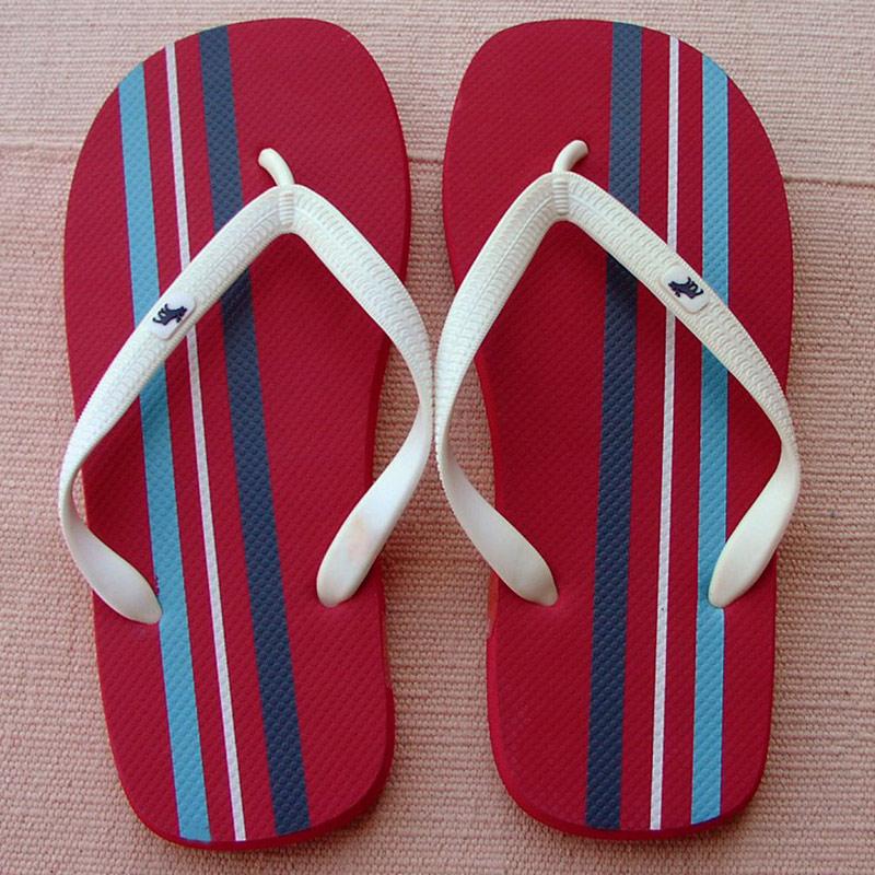 画像1: アバクロンビー&フィッチ ビーチサンダル レッド/ストライプ(メンズ)/Abercrombie&Fitch Flip Flop Red Stripe(Mens) (1)