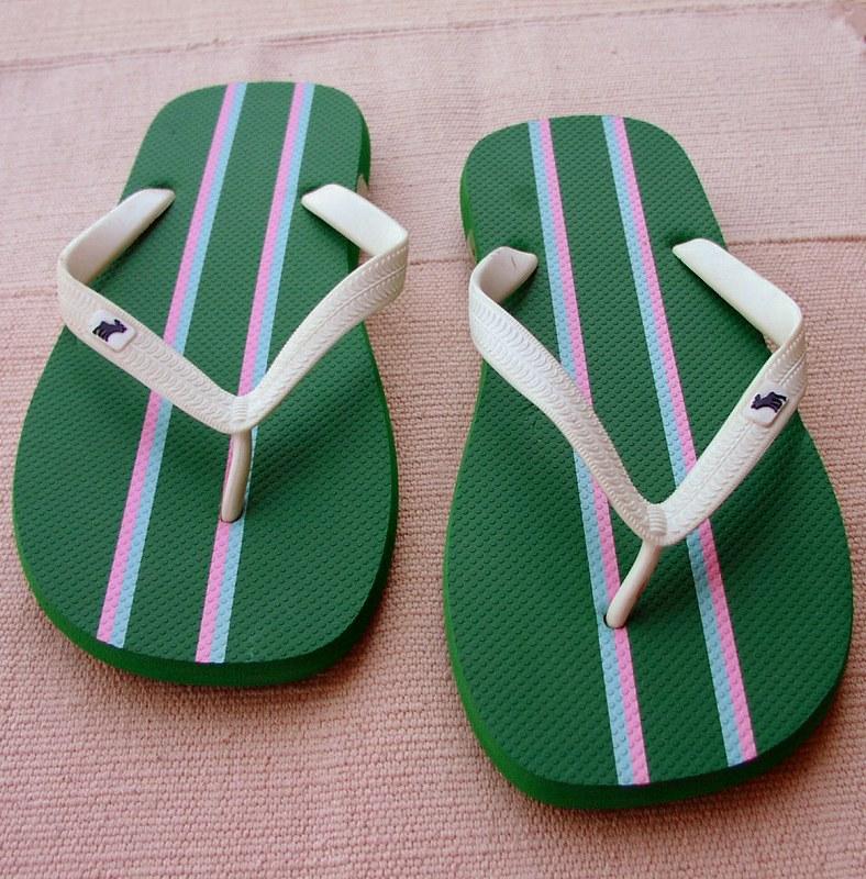 画像1: アバクロンビー&フィッチ ビーチサンダル グリーン/ストライプ(メンズ)/Abercrombie&Fitch Flip Flop Green Stripe(Mens) (1)