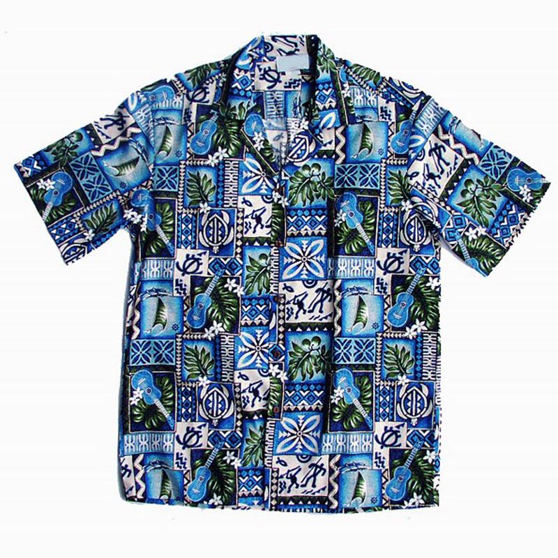 画像1: アロハシャツ ウクレレ・ハワイ(ブルー)L/Aloha Shirt (1)